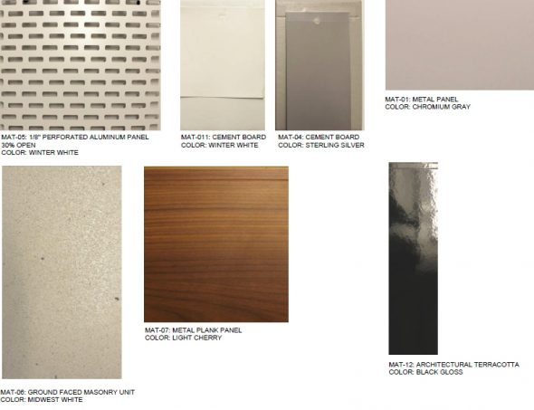 Sample materials to be used on the Contour Apartments.