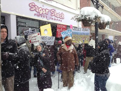 Wisconsin and Illinois Activists Brave Blizzard to Converge on House Speaker Paul Ryan's Racine Office Demanding He Stop the Ruthless Health Care Repeal Bill