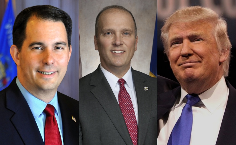 Scott Walker, Brad Schimel and Donald Trump.