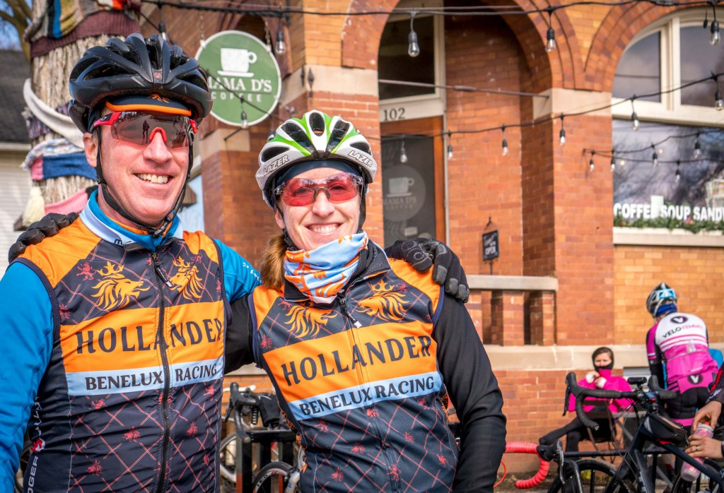 Steve and Erin flying the Lowlands Team colors on the ride.