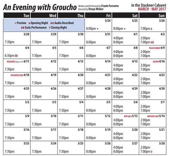 """An Evening with Groucho"" starring Frank Ferrante Schedule"