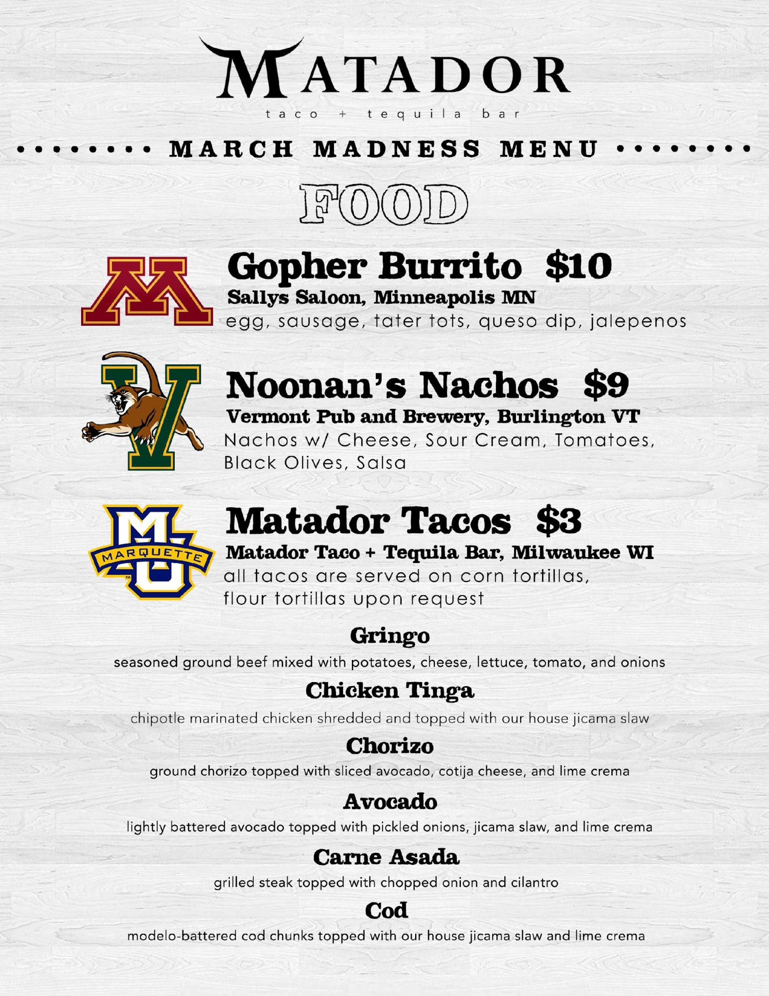 Matador Taco & Tequila Bar NCAA Menu.