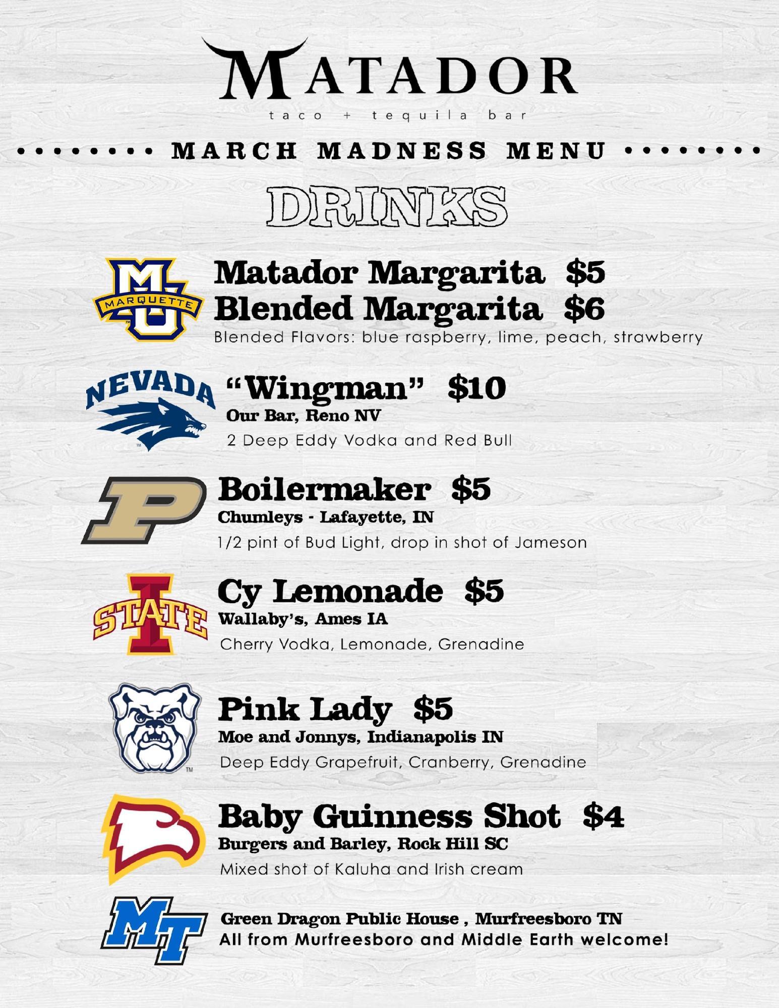 Matador Taco & Tequila Bar NCAA Menu.