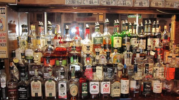 The Little Whiskey Bar has a lot of whiskey on the bar. Photo by Michael Horne.