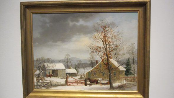 A vivid country winter scene. Painting by George Henry Durrie.