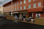 Rendering of Yokohama 1910's proposed parklet. Rendering by Rinka Chung Architecture