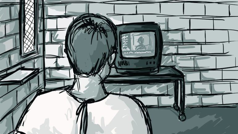 Many inmates reported that their days in solitary were monotonous and repetitive. Many said the overwhelming isolation takes over their daily lives. Illustration by Emily Shullaw for the Wisconsin Center for Investigative Journalism.