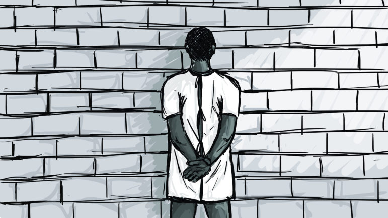 """Brief clinical assessment sessions take place through the inmate's cell door, allowing others to hear. Former prison psychologist Bradley Boivin believes these """"drive-bys"""" are insufficient. Illustration by Emily Shullaw for the Wisconsin Center for Investigative Journalism."""