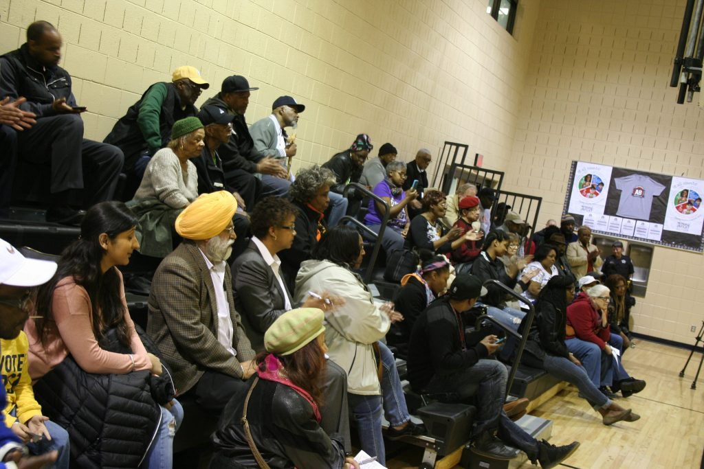 A crowd of about 50 residents packed the Mary Ryan Boys & Girls Club gym. Photo by Jabril Faraj.