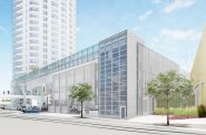 This rendering shows the newly created separation between The Couture and 833 East. Rendering by Rinka Chung Architecture.