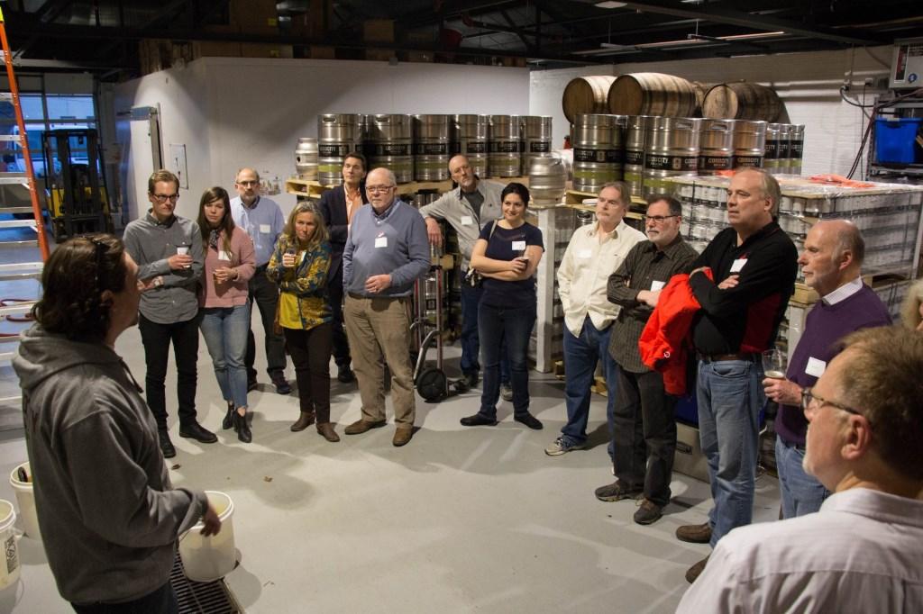 Urban Milwaukee Members enjoy a tour of Good City Brewing. Photo by Justin Gordon.