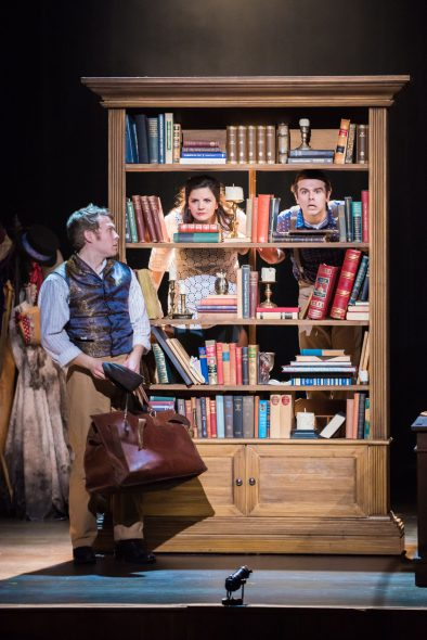 Josh Krause as Pip, Karen Estrada, Zach Thomas Woods. Photo by Paul Ruffolo.