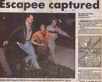 LaRon McKinley was placed in administrative confinement after his 1987 escape in Madison, Wis. in which he shot a Milwaukee County Sheriff's deputy. Another deputy was injured while leaping from the squad car in which the three were riding. Photo courtesy of the Wisconsin State Journal.