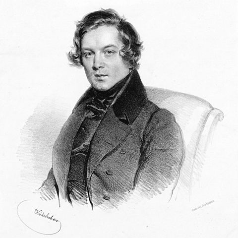 Robert Schumann - 1839 lithograph by Josef Kriehuber. Photo is in the Public Domain.