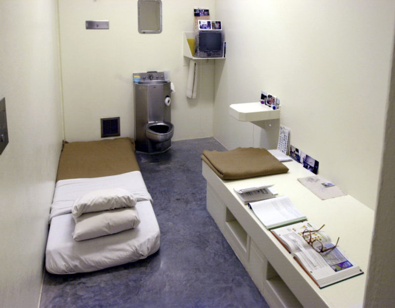 The interior of a solitary cell at the Wisconsin Secure Program Facility in Boscobel, Wis., seen during a media tour in 2001. Inmates may place mattress on floor which in turn creates a desk-like area for studies. Photo by Joseph W. Jackson III of the Wisconsin State Journal.