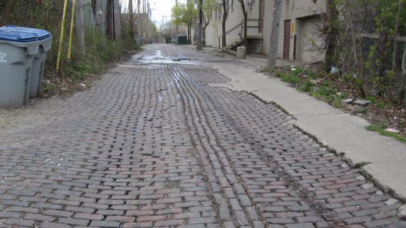 30-foot-wide brick alley. Photo by Michael Horne.