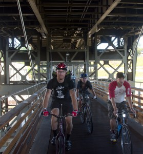 Milwaukee's Marsupial Bridge hangs under the Holton Street Viaduct and provides a cool bike/walk connection between the Riverwest and Brady Street neighborhoods.