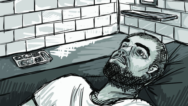 Prisoners in administrative confinement have no human contact at least 22 hours a day. Most described feelings of isolation, hopelessness, anxiety or paranoia. Illustration by Emily Shullaw for the Wisconsin Center for Investigative Journalism.