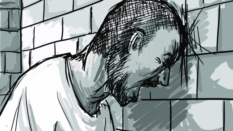 Inmates in administrative confinement reported sleep deprivation from screaming and banging from other inmates and perpetual lighting. Illustration by Emily Shullaw for the Wisconsin Center for Investigative Journalism.