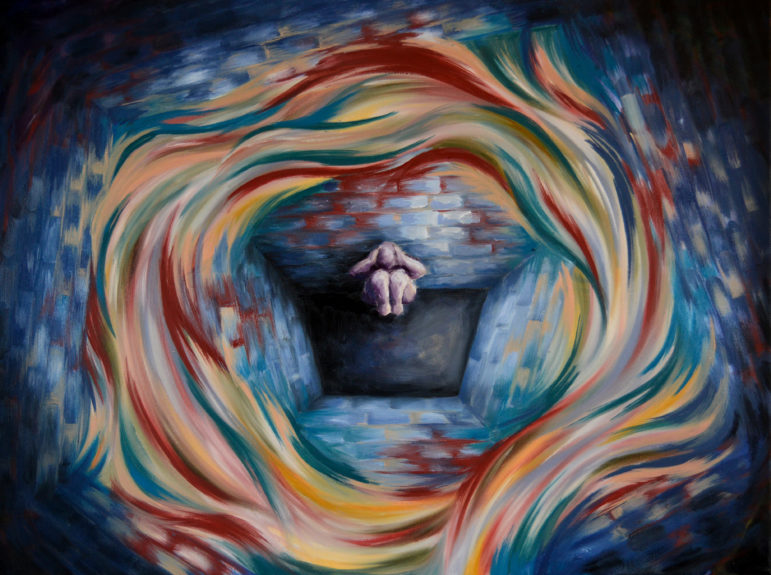 The Department of Corrections has made moves to remove prisoners with serious mental illnesses from solitary and to require that psychological staff provide input when such inmates are facing placement in solitary. Painting by Emily Shullaw for the Wisconsin Center for Investigative Journalism.
