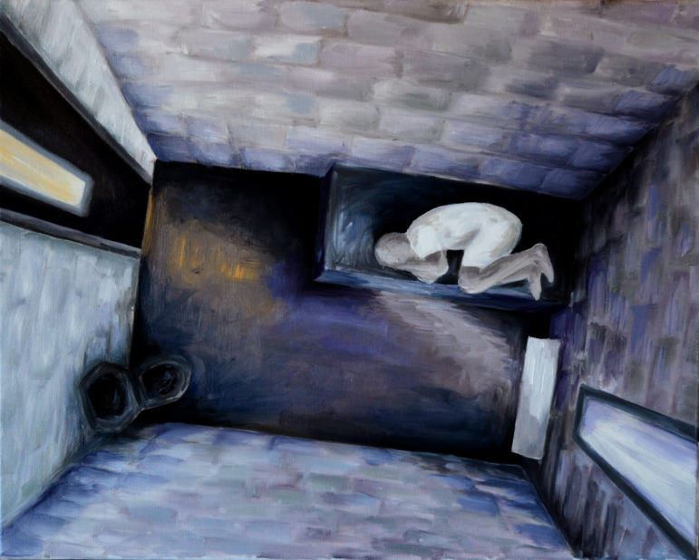 Some of the harshest treatment in solitary is reserved for inmates who want to kill themselves. Confined in a cell with a bed made of a concrete and steel slab with a thin rubber mat, the prisoner wears only a a paper security gown or a quilted security smock. Painting by Emily Shulaw for the Wisconsin Center for Investigative Journalism.
