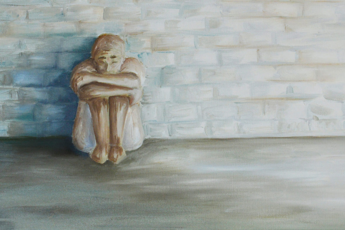 About 100 prisoners in Wisconsin are currently held in administrative confinement— a little-known category of solitary with no specified end date. A United Nations expert on human rights said that more than 15 days in solitary can be considered torture. Painting by Emily Shulaw for the Wisconsin Center for Investigative Journalism.