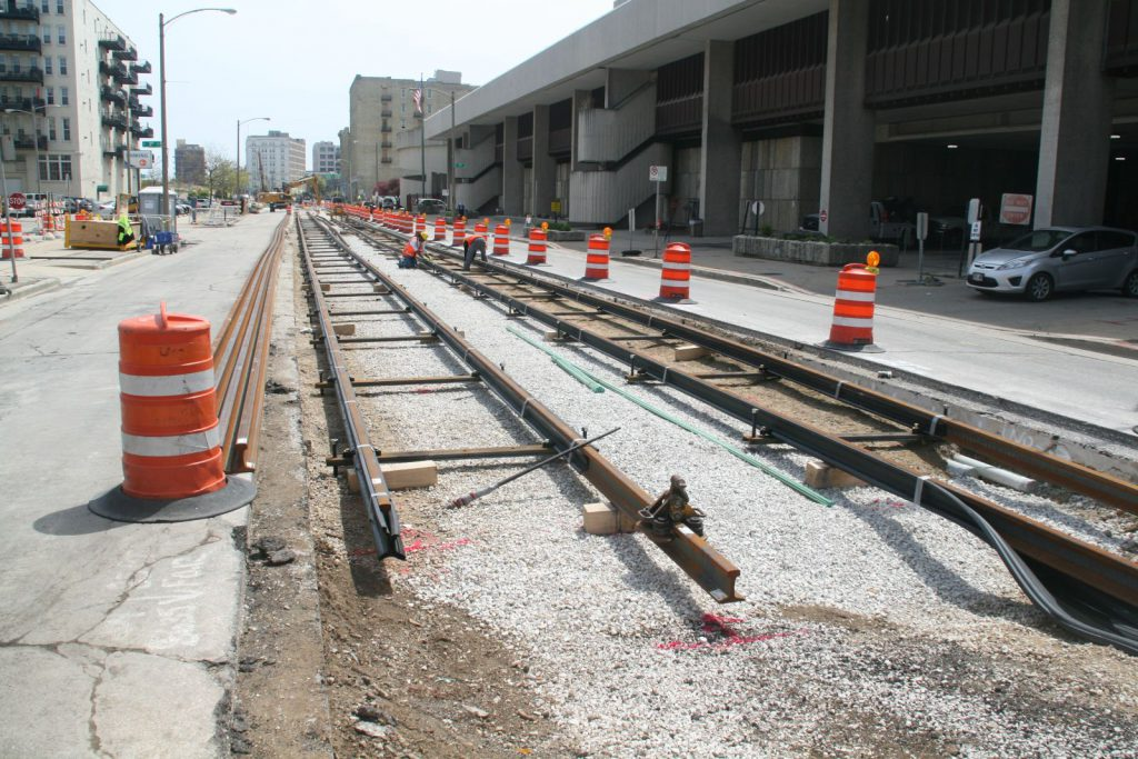 Milwaukee Streetcar Track. Photo by Jeramey Jannene.