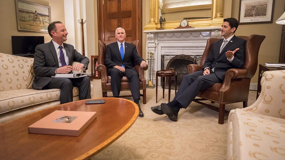 Reince Priebus, Mike Pence and Paul Ryan.