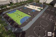 Multi-sport complex aerial view. Rendering by Eppstein Uhen Architects.