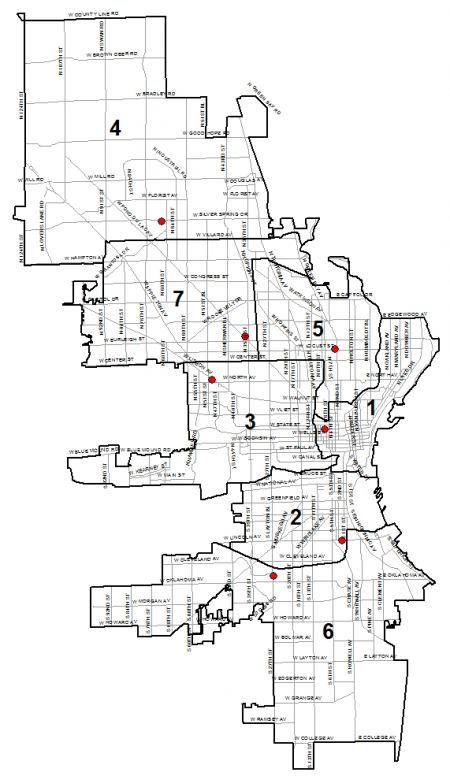 Police District Map. Photo courtesy of City of Milwaukee.