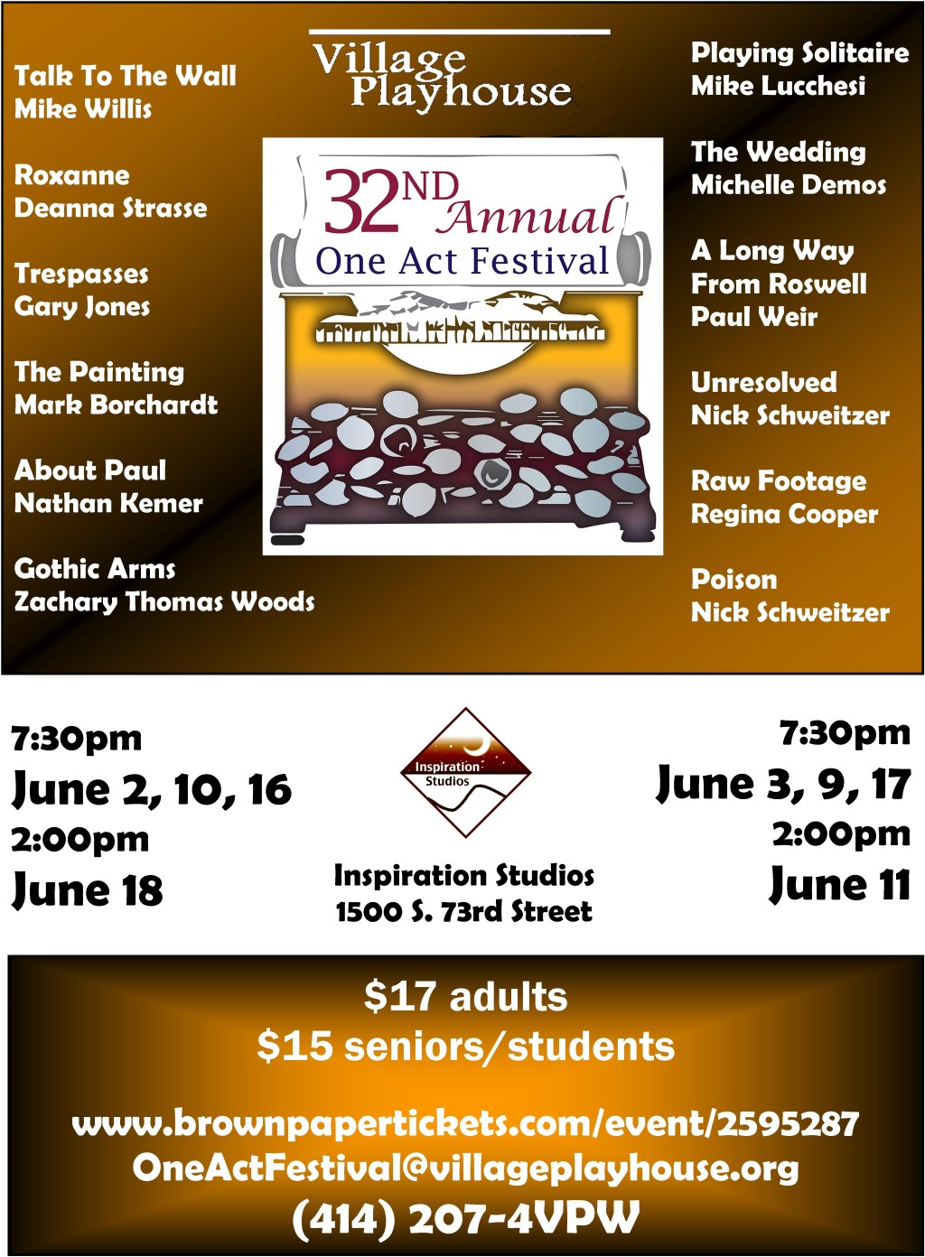 Village Playhouse 32nd Annual Original One Act Festival Features TWELVE Original Entries