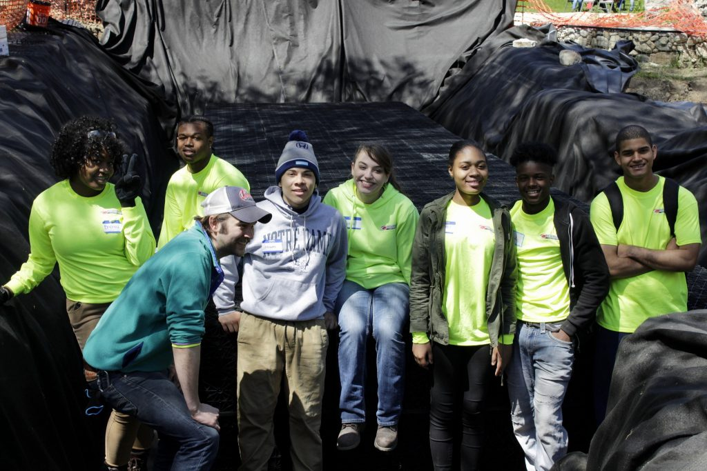 Sean Kiebzak (front) poses with Bradley Tech interns (from left) Brionna Jeffries, Zion Griffin, Deovyian Banks, Rebecca Schanen, Giovanni Perez and Jamie Daniels. Photo by Keith Schubert.