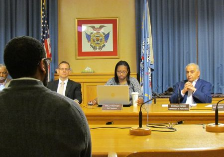 Common Council President Ashanti Hamilton addresses the city's Water Quality Task Force. Photo by Jabril Faraj.