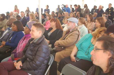 Neighborhood residents, city officials and others gathered to mark the groundbreaking for the new Bader Philanthropies headquarters. Photo by Naomi Waxman.