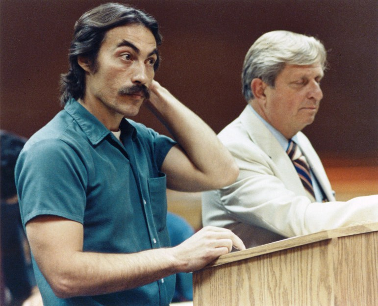 Richard Beranek is seen with his attorney, Archie Simonson, in Dane County Circuit Court in 1989. Beranek received a 243-year sentence for sexual assault as a repeat offender. He is challenging that conviction based on new DNA evidence. Photo by Scott Seid of the Wisconsin State Journal.