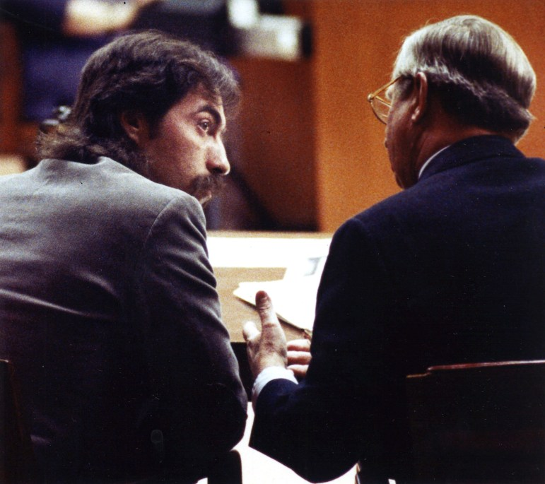 Sexual assault suspect Richard Beranek, left, sits with attorney Archie Simonson in Dane County Circuit Court in this 1990 photo. Beranek was convicted in part based on FBI hair analysis that the agency now acknowledges was invalid. DNA testing has excluded him as a source of the hair. Photo by L. Roger Turner of the Wisconsin State Journal.