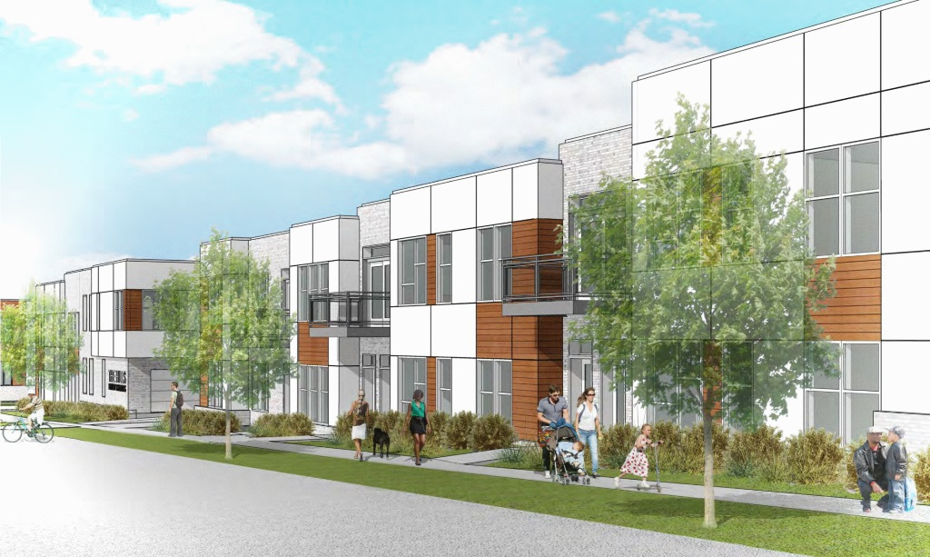 The Hills Luxury Commons view along Brown St.. Rendering by Engberg Anderson Architects.