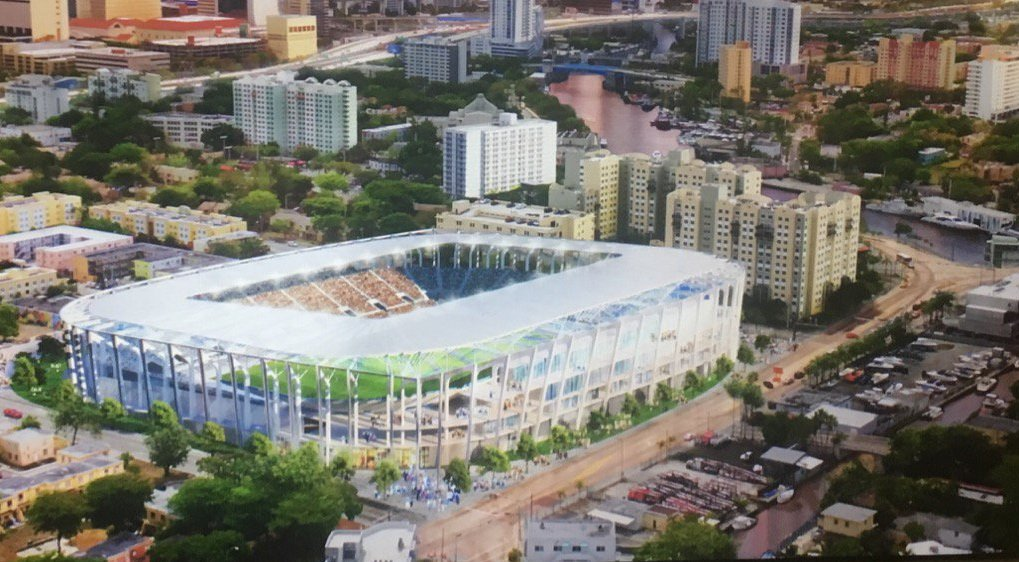 Rendering of proposed Major League Soccer stadium in Miami's Overtown neighborhood.