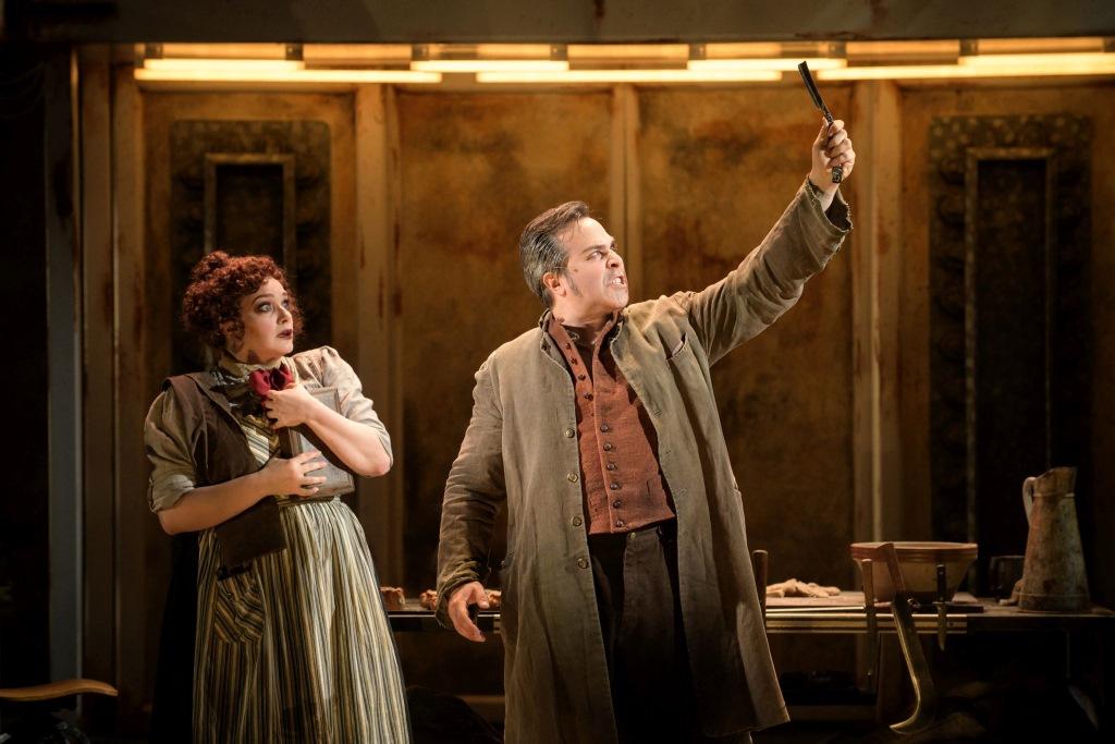 Christina Hall (Mrs. Lovett) and Andrew Varela (Sweeney Todd) in Skylight Music Theatre's Sweeney Todd running May 19 – June 11. Photo by Mark Frohna.