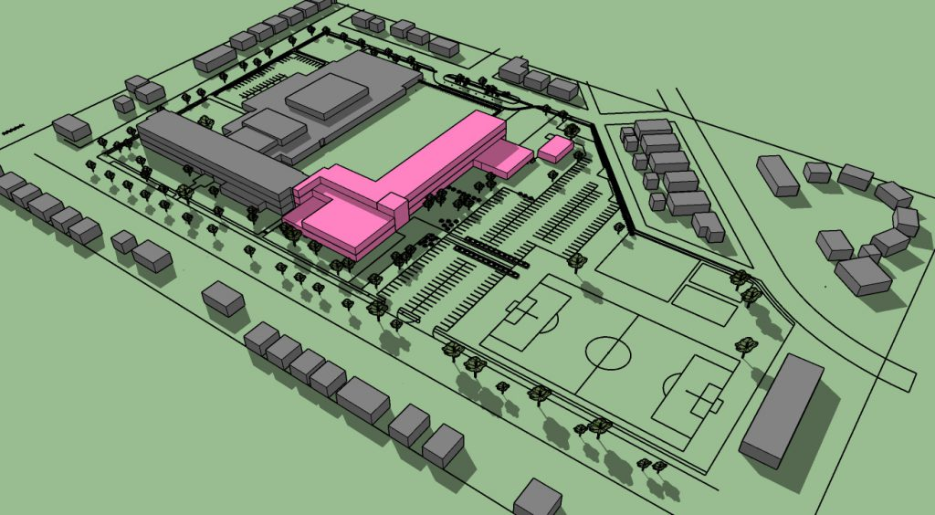 Hmong American Peace Academy massing plan. Rendering by Continuum Architects + Planners.