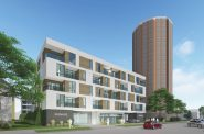 Klein Development Proposal along N. Arlington Pl. Rendering by Eppstein Uhen Architects.