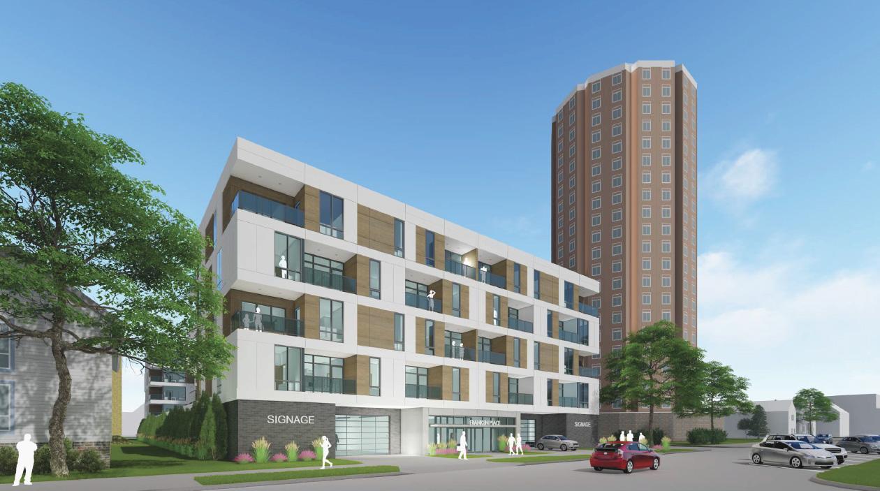Klein Development Proposal along N. Arlington Pl. Rendering by Eppstein Uhen Architects.