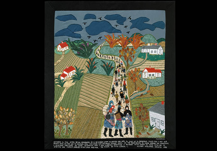 Esther Nisenthal Krinitz (Polish/American, 1927 – 2001) Road to Krasnik, 1994, embroidery and fabric collage. Image from of Art & Remembrance, Washington, D.C.