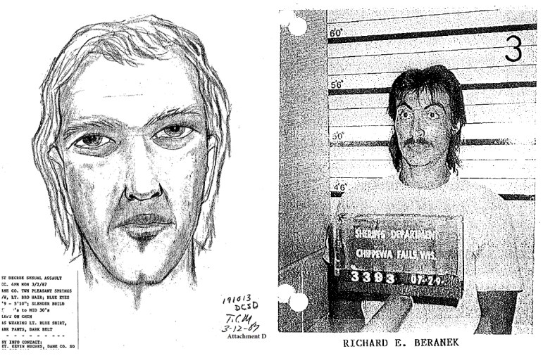 This artist's sketch, left, was produced in 1987 by the Dane County Sheriff's Department based on the victim's description of her attacker. At right, Richard Beranek became a suspect in the assault after Chippewa County, Wis., officials believed the sketch resembled Beranek, who was facing sexual assault charges there. This photo was chosen by the victim from a set of eight photos. Photo from the Dane County Circuit Court.