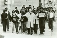 Father James Groppi and members of the NAACP Youth Council march in support of Vel Phillips' open housing bill. Photo courtesy of Milwaukee Journal Sentinel and Historic Photo Collection, Milwaukee Public Library.