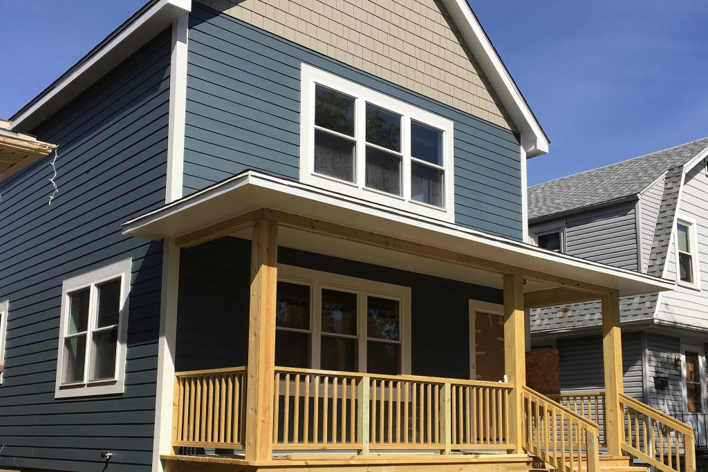 Street view of the newly constructed Turnkey Home Renovation home. Photo courtesy of Layton Boulevard West Neighbors.