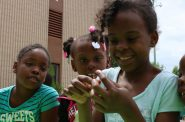 Several girls explore nature at the Washington Park Urban Ecology Center during a summer program. Photo courtesy of the Urban Ecology Center.