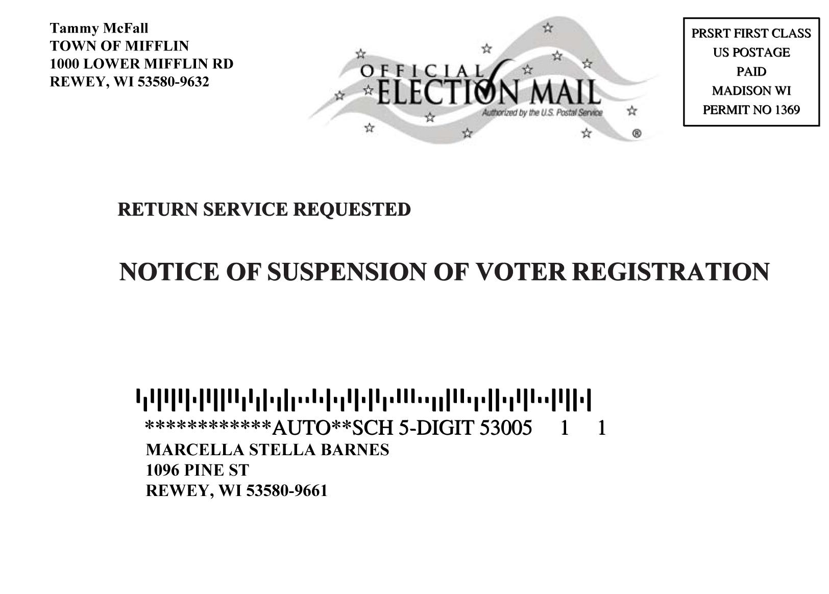 """""""Notice of Suspension"""" postcard."""