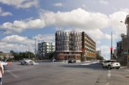Rendering of proposed apartment building at 2130 S. Kinnickinnic Ave. Rendering by Korb + Associates Architects.