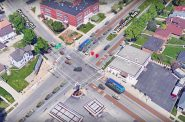 Conceptual rendering of the BRT line at the Wisconsin Avenue and Hawley Road intersection. Image courtesy of Milwaukee County Transit System.